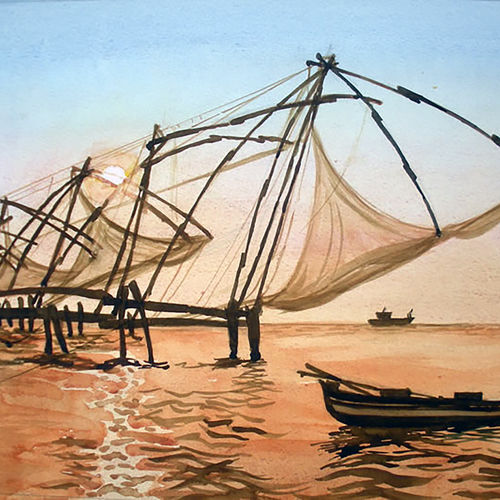 chinese fishing nets, kerala, india, 12 x 20 inch, murugesan a.,12x20inch,canson paper,paintings,landscape paintings,nature paintings,impressionist paintings,paintings for dining room,paintings for living room,paintings for bedroom,paintings for office,paintings for hotel,paintings for school,paintings for hospital,paintings for dining room,paintings for living room,paintings for bedroom,paintings for office,paintings for hotel,paintings for school,paintings for hospital,watercolor,paper,GAL01496126045