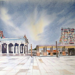 nataraja temple, chidambaram, tamil nadu, india, 12 x 20 inch, murugesan a.,12x20inch,arches paper,cityscape paintings,landscape paintings,religious paintings,impressionist paintings,lord shiva paintings,paintings for dining room,paintings for living room,paintings for bedroom,paintings for office,paintings for hotel,paintings for school,paintings for dining room,paintings for living room,paintings for bedroom,paintings for office,paintings for hotel,paintings for school,watercolor,paper,GAL01496126046