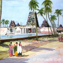 girls visiting  village temple, tamil nadu, india, 12 x 20 inch, murugesan a.,12x20inch,canson paper,paintings,landscape paintings,conceptual paintings,impressionist paintings,paintings for dining room,paintings for living room,paintings for bedroom,paintings for office,paintings for hotel,paintings for school,paintings for hospital,watercolor,paper,GAL01496126047
