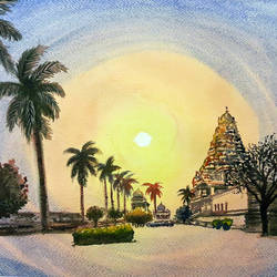 gangai konda cholapuram temple, tamil nadu, india, 12 x 17 inch, murugesan a.,12x17inch,arches paper,paintings,landscape paintings,religious paintings,impressionist paintings,paintings for dining room,paintings for living room,paintings for bedroom,paintings for office,paintings for hotel,paintings for school,paintings for hospital,watercolor,paper,GAL01496126053