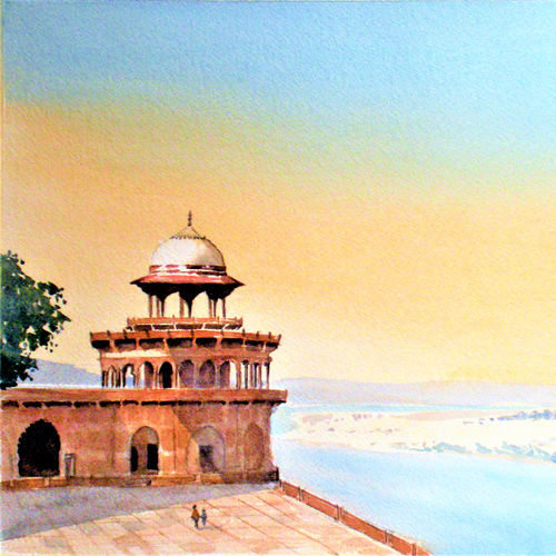 agra fort, agra, india, 13 x 20 inch, murugesan a.,13x20inch,arches paper,paintings,cityscape paintings,landscape paintings,impressionist paintings,paintings for living room,paintings for bedroom,paintings for office,paintings for hotel,paintings for school,paintings for hospital,watercolor,paper,GAL01496126055