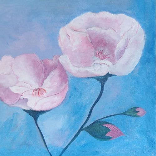 lilac mood, 14 x 18 inch, archana oswal,14x18inch,canvas board,paintings,flower paintings,paintings for living room,paintings for bedroom,acrylic color,GAL01469326057