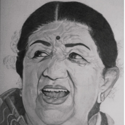singer lata mangeshkar -singer , 11 x 15 inch, shivkumar  menon,portrait paintings,paintings for living room,figurative drawings,drawing paper,graphite pencil,11x15inch,GAL09862606