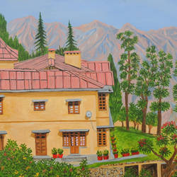 view from gunhill mussoorie, 45 x 30 inch, ajay harit,45x30inch,canvas,paintings,landscape paintings,nature paintings,realism paintings,paintings for dining room,paintings for living room,paintings for bedroom,paintings for office,paintings for hotel,paintings for school,paintings for hospital,oil color,GAL0199826072