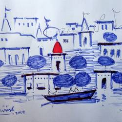 varanasi ghat, 11 x 8 inch, girish chandra vidyaratna,11x8inch,paper,drawings,figurative drawings,fine art drawings,modern drawings,paintings for living room,pen color,GAL03626078