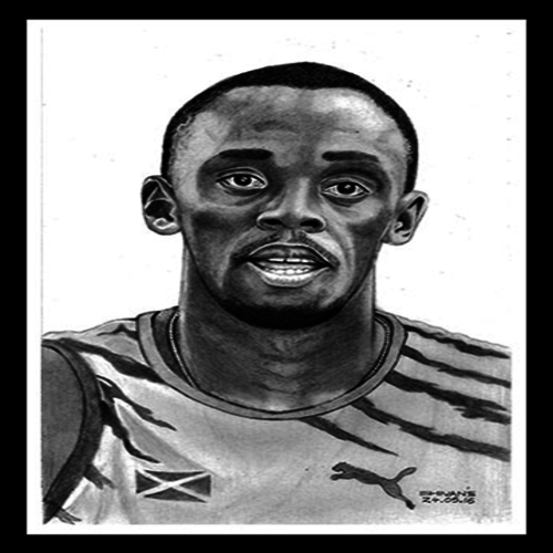 usain bolt-olympic athlete , 8 x 11 inch, shivkumar  menon,portrait paintings,paintings for living room,figurative drawings,drawing paper,graphite pencil,8x11inch,GAL09862608