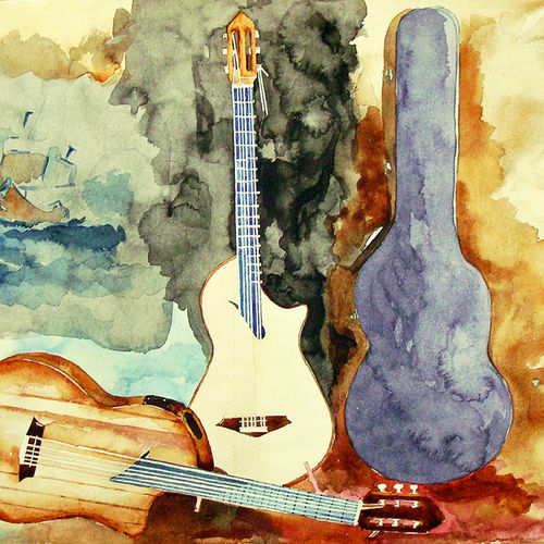 guitars, 16 x 11 inch, kevin massey,16x11inch,cartridge paper,paintings,abstract paintings,figurative paintings,modern art paintings,still life paintings,art deco paintings,photorealism paintings,photorealism,pop art paintings,realism paintings,contemporary paintings,realistic paintings,children paintings,kids paintings,paintings for dining room,paintings for living room,paintings for bedroom,paintings for office,paintings for bathroom,paintings for kids room,paintings for hotel,paintings for kitchen,paintings for school,paintings for hospital,watercolor,GAL01538926084