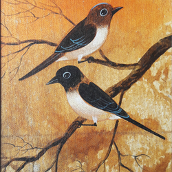 birds painting, 8 x 11 inch, sripati sahoo,8x11inch,canvas,wildlife paintings,paintings for living room,paintings for living room,acrylic color,GAL0269426092
