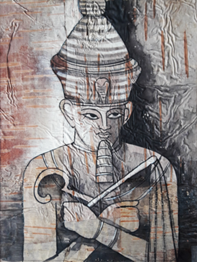 egyptian art, 8 x 11 inch, sripati sahoo,8x11inch,leaf,religious paintings,paintings for living room,paintings for hotel,paintings for living room,paintings for hotel,acrylic color,GAL0269426093