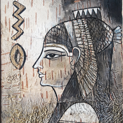 egyptian art, 8 x 11 inch, sripati sahoo,8x11inch,leaf,paintings,religious paintings,acrylic color,GAL0269426094