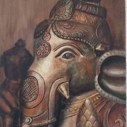 ganesha, 12 x 16 inch, ruman mohanty,12x16inch,canvas,religious paintings,paintings for living room,paintings for living room,acrylic color,GAL01535126096