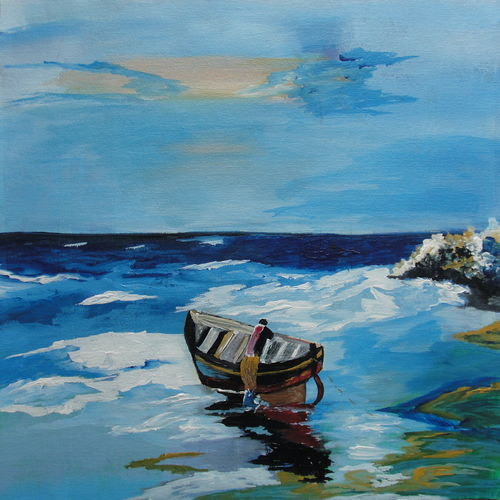 nature art, 14 x 12 inch, indhuja raghavan,landscape paintings,paintings for bedroom,canvas,acrylic color,14x12inch,GAL0110261