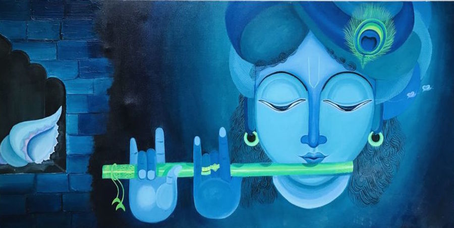 krishna , 48 x 24 inch, jinal bhavsar modi,48x24inch,canvas board,paintings,religious paintings,radha krishna paintings,paintings for dining room,paintings for living room,paintings for office,paintings for school,paintings for hospital,acrylic color,GAL01540626100,krishna,Lord krishna,krushna,flute,peacock feather,melody,peace,religious,god,love