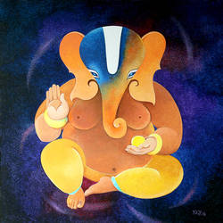 ganesha, 30 x 30 inch, raji p,30x30inch,canvas,paintings,figurative paintings,religious paintings,impressionist paintings,ganesha paintings,contemporary paintings,paintings for dining room,paintings for living room,paintings for bedroom,paintings for office,paintings for kids room,paintings for hotel,paintings for school,paintings for hospital,acrylic color,GAL059026106,ganpati bappa morya,ganesh chaturthi,ganesh murti,elephant god,religious,lord ganesh,ganesha,om,hindu god,shiv parvati, putra,bhakti,blessings,aashirwad,pooja,puja,aarti,ekdant,vakratunda,lambodara,bhalchandra,gajanan,vinayak,prathamesh,vignesh,heramba,siddhivinayak,mahaganpati,omkar,mushak,mouse,ladoo,modak,