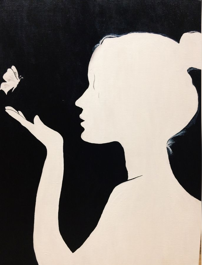 butterfly girl, 24 x 30 inch, anjli jagga,abstract paintings,paintings for living room,canvas,acrylic color,24x30inch,GAL09382611