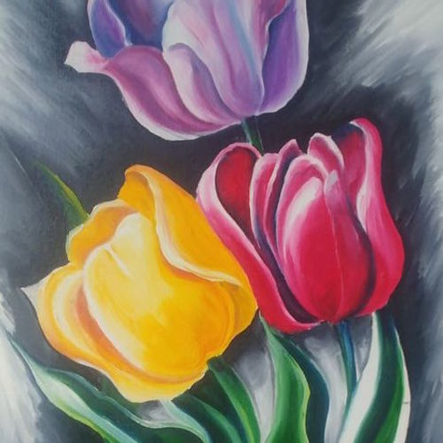 vibrant trio, 14 x 18 inch, archana oswal,14x18inch,canvas board,paintings,flower paintings,nature paintings,paintings for dining room,paintings for living room,paintings for bedroom,paintings for office,paintings for kids room,paintings for hotel,paintings for school,paintings for hospital,paintings for dining room,paintings for living room,paintings for office,paintings for hotel,acrylic color,GAL01469326118