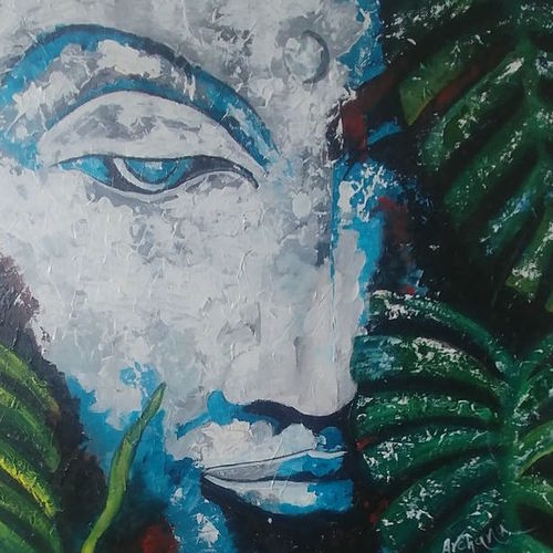 peace, 18 x 18 inch, archana oswal,18x18inch,canvas board,paintings,abstract paintings,buddha paintings,paintings for dining room,paintings for living room,paintings for office,paintings for hotel,paintings for hospital,acrylic color,GAL01469326119