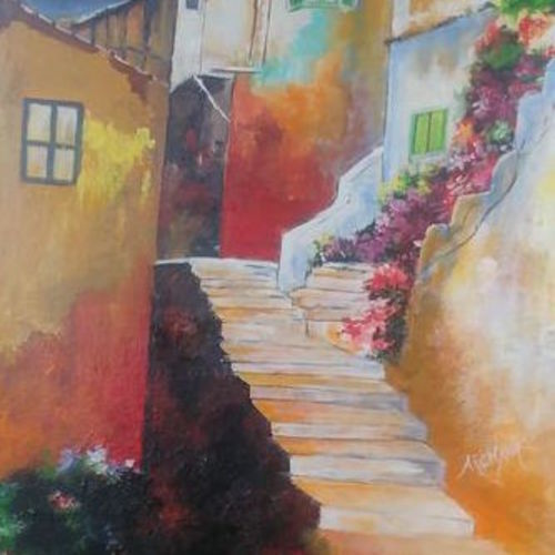 beautiful houses, 15 x 26 inch, archana oswal,15x26inch,canvas board,paintings,cityscape paintings,realism paintings,realistic paintings,paintings for dining room,paintings for living room,paintings for bedroom,paintings for office,paintings for hotel,paintings for school,paintings for hospital,acrylic color,GAL01469326121