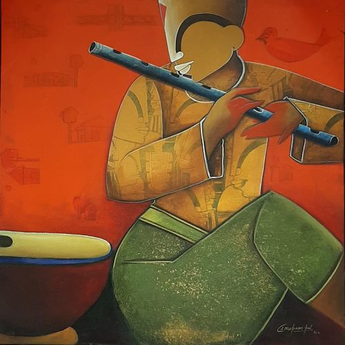 rhythmic reverberations 2, 30 x 30 inch, anupam  pal,30x30inch,canvas,paintings,buddha paintings,figurative paintings,folk art paintings,cityscape paintings,modern art paintings,conceptual paintings,paintings for dining room,paintings for living room,paintings for bedroom,paintings for office,paintings for bathroom,paintings for kids room,paintings for hotel,paintings for kitchen,paintings for school,paintings for hospital,acrylic color,GAL08226123
