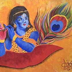 jai shri krishna!, 18 x 13 inch, aruna asaf ali,18x13inch,canvas,paintings,religious paintings,radha krishna paintings,paintings for dining room,paintings for living room,paintings for bedroom,paintings for office,paintings for bathroom,paintings for kids room,paintings for hotel,paintings for kitchen,paintings for school,paintings for hospital,acrylic color,GAL0602726139