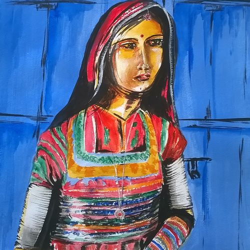 woman from rajasthan , 11 x 16 inch, sayantan  ghati ,figurative paintings,paintings for dining room,paper,acrylic color,11x16inch,GAL07702614