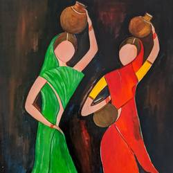 tribal women, 20 x 16 inch, promila singh,20x16inch,thick paper,paintings,figurative paintings,paintings for living room,acrylic color,GAL0823226145