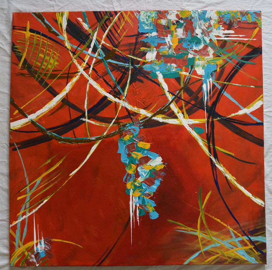 tangled, 28 x 28 inch, vijaya chavan,28x28inch,canvas,paintings,abstract paintings,paintings for dining room,paintings for living room,paintings for office,paintings for hotel,acrylic color,GAL01546626149