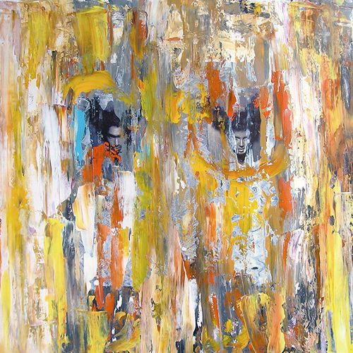 lost in the corwd, 18 x 18 inch, prasanta acharjee,18x18inch,thick paper,paintings,abstract paintings,figurative paintings,modern art paintings,conceptual paintings,abstract expressionism paintings,expressionism paintings,contemporary paintings,paintings for dining room,paintings for living room,paintings for bedroom,paintings for office,paintings for hotel,paintings for hospital,acrylic color,GAL0360526156