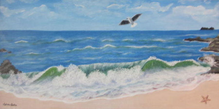 the beach, 32 x 16 inch, silvia corda,32x16inch,canvas,paintings,nature paintings,paintings for dining room,paintings for living room,paintings for bedroom,paintings for office,paintings for kids room,paintings for hotel,paintings for school,acrylic color,GAL01547026167