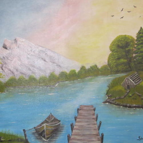 a pleasant day, 24 x 32 inch, silvia corda,24x32inch,canvas,paintings,nature paintings,paintings for dining room,paintings for living room,paintings for bedroom,paintings for office,paintings for kids room,paintings for hotel,paintings for school,paintings for hospital,acrylic color,GAL01547026168