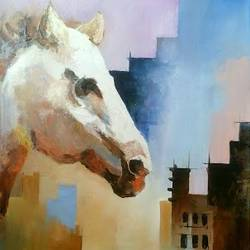 horse  1, 21 x 36 inch, samir deshmukh,wildlife paintings,conceptual paintings,paintings for living room,paintings for office,animal paintings,canvas,oil,21x36inch,GAL02522618