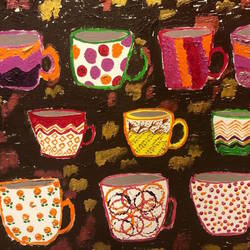 coffee with friends, 24 x 20 inch, vandana dhingra,24x20inch,canvas,paintings,still life paintings,abstract expressionism paintings,paintings for dining room,paintings for kids room,paintings for kitchen,acrylic color,GAL01549126183