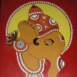 lord ganesha, 18 x 22 inch, bharadwaj v,18x22inch,canvas board,paintings,figurative paintings,acrylic color,GAL01068026189