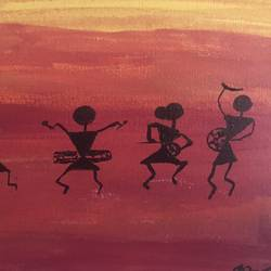 warli painting, 10 x 10 inch, aindrila biswas,10x10inch,canvas,paintings,folk art paintings,paintings for dining room,paintings for living room,paintings for bedroom,acrylic color,GAL01480726192