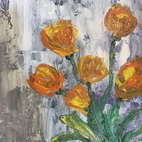 tulip painting, 9 x 10 inch, aindrila biswas,9x10inch,canvas,paintings,flower paintings,paintings for dining room,paintings for living room,paintings for bedroom,paintings for office,paintings for dining room,paintings for living room,paintings for bedroom,paintings for office,acrylic color,oil color,GAL01480726195