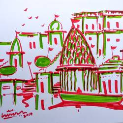 varanasi ghat, 11 x 8 inch, girish chandra vidyaratna,11x8inch,paper,drawings,figurative drawings,fine art drawings,modern drawings,paintings for living room,pen color,GAL03626201