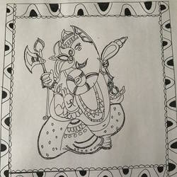 ganesha madhubani, 23 x 7 inch, aindrila biswas,23x7inch,thick paper,paintings,ganesha statue,ganesha paintings,madhubani paintings,paintings for dining room,paintings for living room,paintings for bedroom,watercolor,GAL01480726204