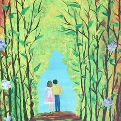 lady and boy walk by park, 18 x 24 inch, aindrila biswas,18x24inch,canvas,paintings,still life paintings,paintings for dining room,paintings for living room,paintings for bedroom,paintings for office,acrylic color,GAL01480726208