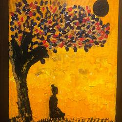 the bodhi tree, 12 x 15 inch, vandana dhingra,12x15inch,canvas,paintings,buddha paintings,paintings for dining room,paintings for living room,paintings for bedroom,paintings for hotel,acrylic color,GAL01549126216