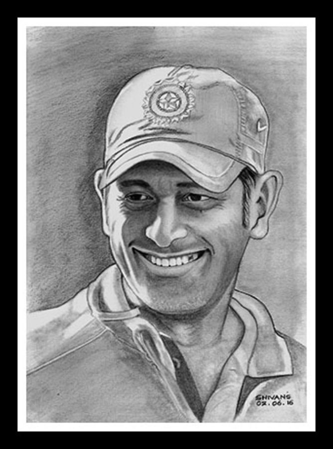 m.s. dhoni, 8 x 12 inch, shivkumar  menon,portrait drawings,paintings for living room,drawing paper,graphite pencil,8x12inch,GAL09862622
