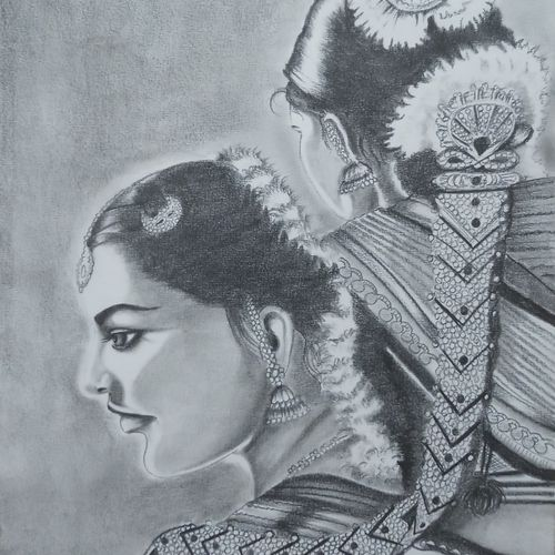 bharatnatyam dance, 12 x 16 inch, sandhya kumari,12x16inch,canson paper,drawings,figurative drawings,portrait drawings,paintings for dining room,paintings for living room,paintings for bedroom,paintings for office,paintings for kids room,paintings for hotel,paintings for kitchen,paintings for school,paintings for hospital,graphite pencil,GAL0365926235