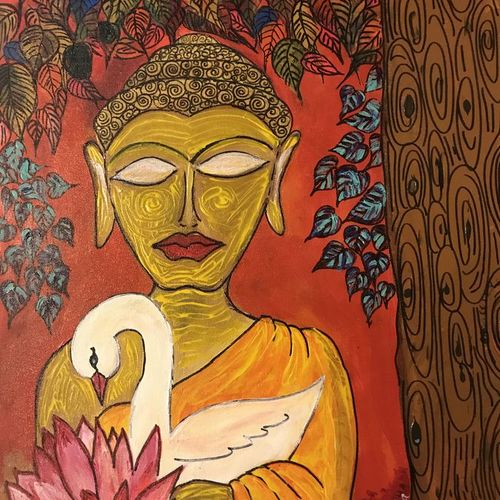 buddha and the bodhi tree, 20 x 24 inch, anuradha bansal,20x24inch,canvas,buddha paintings,figurative paintings,paintings for dining room,paintings for living room,paintings for bedroom,paintings for office,paintings for kids room,paintings for hotel,paintings for kitchen,paintings for school,paintings for hospital,paintings for dining room,paintings for living room,paintings for bedroom,paintings for office,paintings for kids room,paintings for hotel,paintings for kitchen,paintings for school,paintings for hospital,acrylic color,GAL01557826239