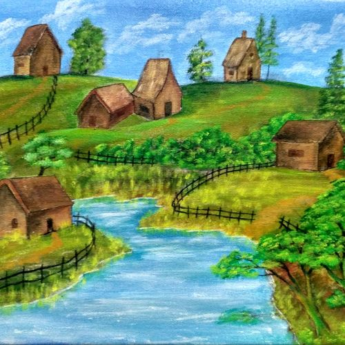 landscape painting, 18 x 12 inch, leo d'silva,18x12inch,canvas,paintings,landscape paintings,paintings for dining room,paintings for living room,paintings for bedroom,paintings for office,paintings for bathroom,paintings for kids room,paintings for hotel,paintings for kitchen,paintings for school,paintings for hospital,acrylic color,GAL01189126244