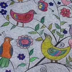 family of birds, 13 x 17 inch, shubhi jain,13x17inch,paper,paintings,nature paintings | scenery paintings,pencil color,poster color,ball point pen,GAL01556726256