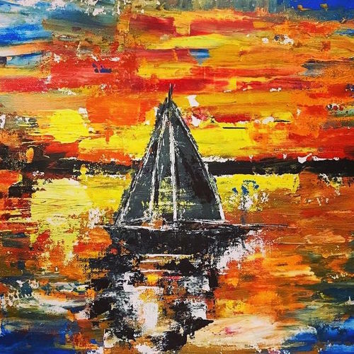 black boat, 16 x 12 inch, indra pandey,16x12inch,canvas,abstract paintings,landscape paintings,nature paintings   scenery paintings,abstract expressionism paintings,paintings for dining room,paintings for living room,paintings for bedroom,paintings for hotel,paintings for dining room,paintings for living room,paintings for bedroom,paintings for hotel,acrylic color,GAL01406326268,boat,water,beautiful,sunset