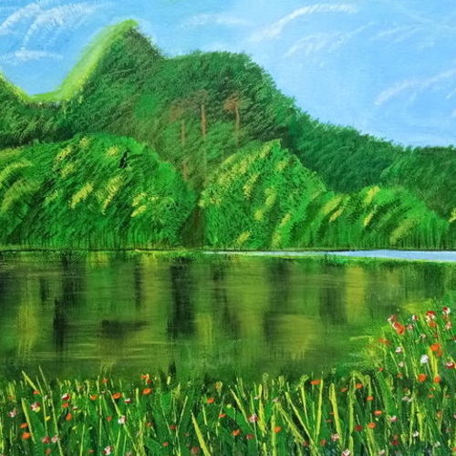 mountains, 16 x 12 inch, indra pandey,16x12inch,canvas,nature paintings   scenery paintings,paintings for bedroom,paintings for office,paintings for hotel,paintings for school,paintings for bedroom,paintings for office,paintings for hotel,paintings for school,acrylic color,GAL01406326269