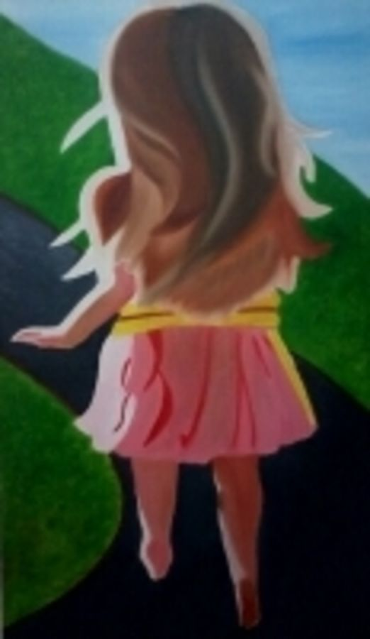 joyful girl, 18 x 30 inch, sarika bahl,figurative paintings,paintings for living room,canvas,oil,18x30inch,GAL010262627