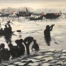 kumbh , the coin collectors, 18 x 10 inch, nirupma  misra,18x10inch,canvas,paintings,landscape paintings,nature paintings | scenery paintings,tanjore paintings,paintings for dining room,paintings for living room,paintings for bedroom,paintings for office,paintings for kids room,paintings for hotel,paintings for school,ceramic,mixed media,oil color,GAL01508126274,boats,water,swimming,bath,kumbh,people,