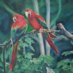 twin scarlet macaw parrots, 36 x 25 inch, john bosco mary,36x25inch,canvas,paintings,wildlife paintings,oil color,GAL01232326276,trees,parrots,macaw parrots,birds