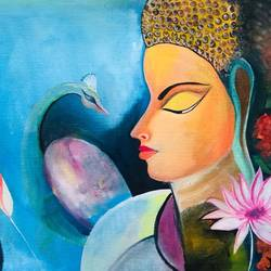 buddha, 30 x 18 inch, dimple goyal,30x18inch,canvas board,paintings,buddha paintings,paintings for dining room,paintings for living room,paintings for hotel,oil color,GAL01565026300